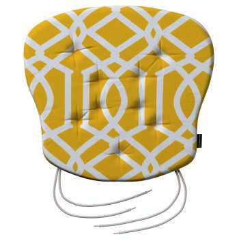 Filip seat pad with ties, 41 x 38 x 3,5 cm (16 x 15 x 1,5 inch), Fabric 135-09 from collection Comic Book & Geo Prints, Type of seat pad ties: Fabric ties