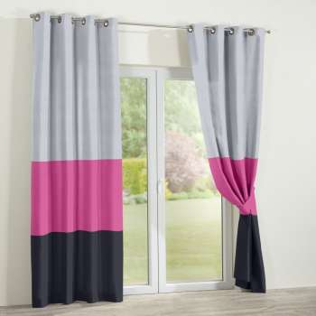 Grey, pink and black trio eyelet curtains 130x260cm, 130x260cm